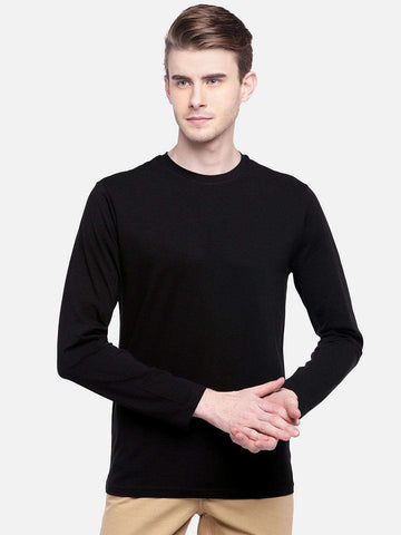 Cottonworld Men's Tshirts MEN'S 95% COTTON 5% LYCRA BLACK REGULAR FIT TSHIRT