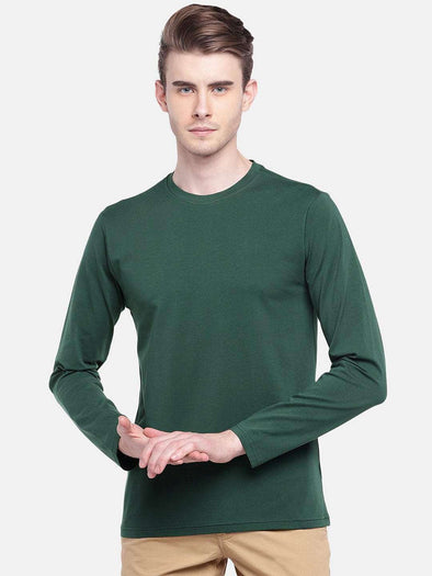 Cottonworld Men's Tshirts MEN'S 95% COTTON 5% LYCRA GREEN REGULAR FIT TSHIRT