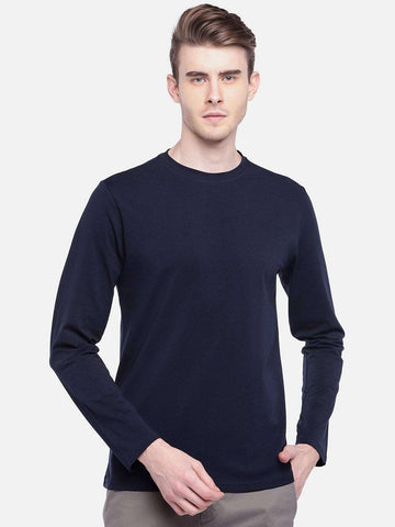Cottonworld Men's Tshirts MEN'S 95% COTTON 5% LYCRA NAVY REGULAR FIT TSHIRT
