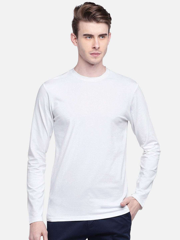 Cottonworld Men's Tshirts MEN'S 95% COTTON 5% LYCRA WHITE REGULAR FIT TSHIRT