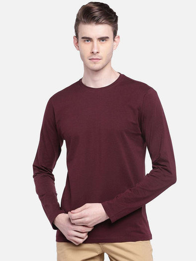 Cottonworld Men's Tshirts MEN'S 95% COTTON 5% LYCRA WINE REGULAR FIT TSHIRT