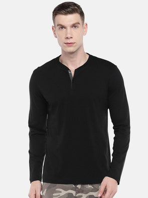 Cottonworld Men's Tshirts Men's Cotton Black Regular Fit Tshirt