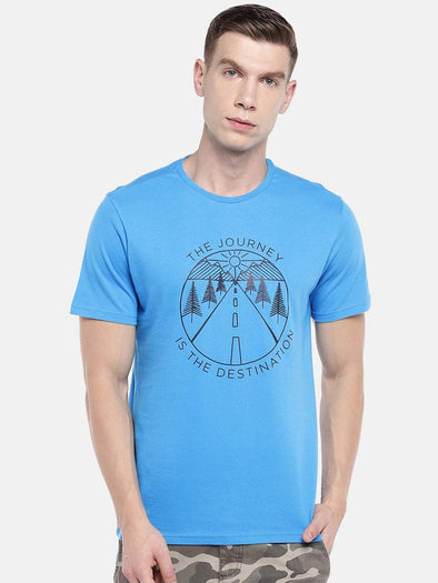 Cottonworld Men's Tshirts Men's Cotton Blue Regular Fit Tshirt