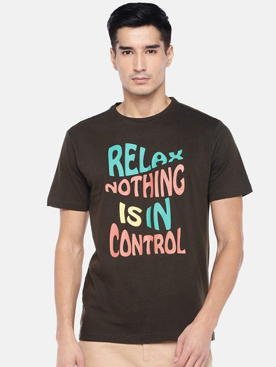 Men's Cotton Brown Regular Fit Tshirt Cottonworld Men's Tshirts