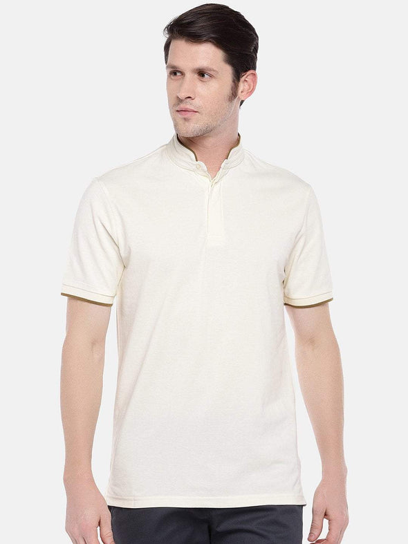 Men's Cotton Cream Regular Fit Tshirt Cottonworld Men's Tshirts
