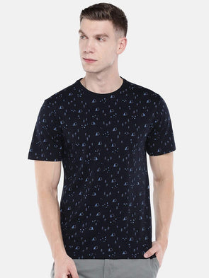 Men's Cotton Dark Navy Regular Fit Tshirt Cottonworld Men's Tshirts