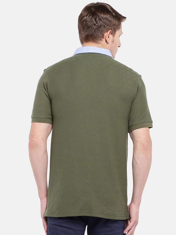 Cottonworld Men's Tshirts Men's Cotton Olive Regular Fit Tshirt
