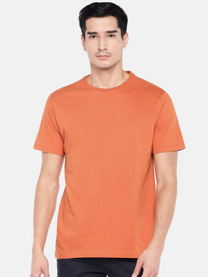 Men's Cotton Rust Regular Fit Tshirt Cottonworld Men's Tshirts