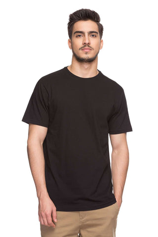 Cottonworld Men's Tshirts MENS SOLID BLACK COTTON TSHIRT