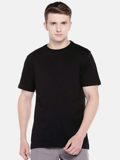 Cottonworld Men's Tshirts SMALL / BLACK Men's Cotton Knit Black Regular Fit Tshirt
