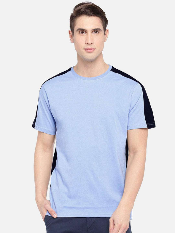 Cottonworld Men's Tshirts SMALL / BLUE Men's Cotton Sky Blue Regular Fit Tshirt