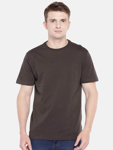 Cottonworld Men's Tshirts SMALL / BROWN Men's Cotton Knit Brown Regular Fit Tshirt
