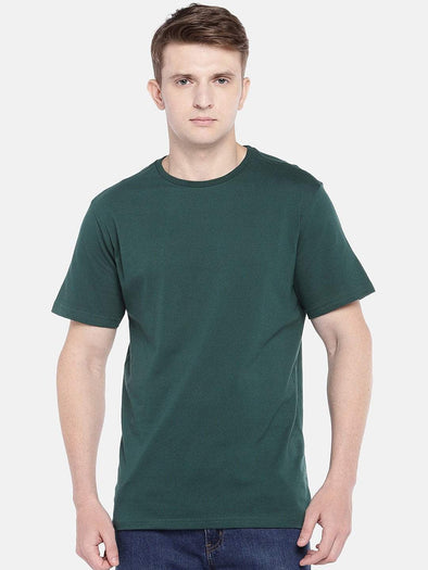 Men's Cotton Knit Dk Green Regular Fit Tshirt Cottonworld Men's Tshirts