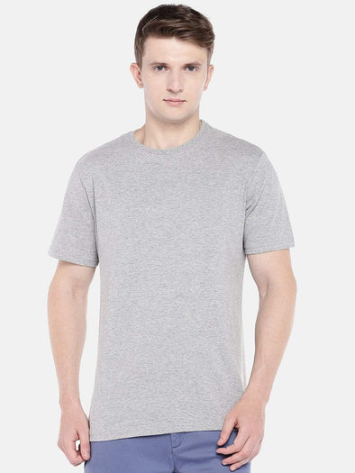 Men's Cotton Grey Melan Regular Fit Tshirt