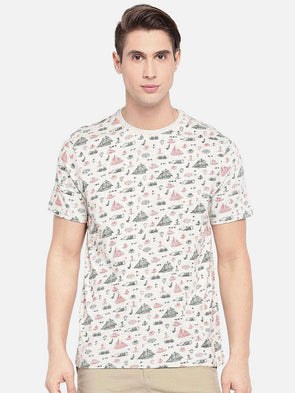 Men's Cotton Ecru Melan Regular Fit Tshirt Cottonworld Men's Tshirts