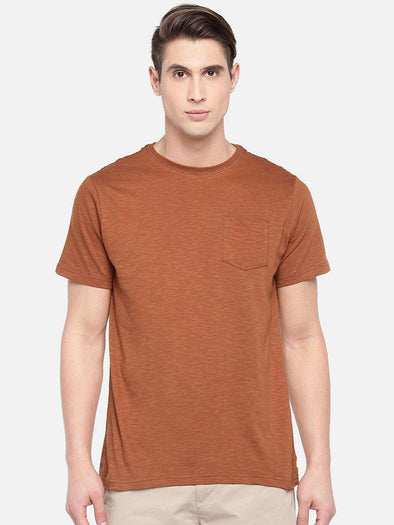 Cottonworld Men's Tshirts SMALL / RUST Men's Cotton Rust Regular Fit Tshirt