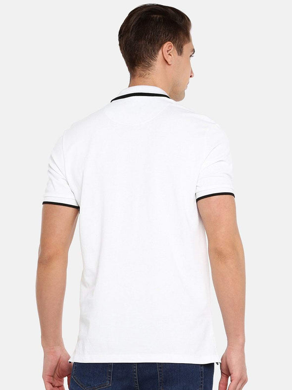 Cottonworld Men's Tshirts SMALL / WHITE Men's 100% Cotton Knit White Regular Fit Tshirt