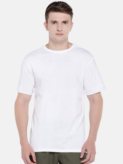 Men's Cotton Knit White Regular Fit Tshirt Cottonworld Men's Tshirts