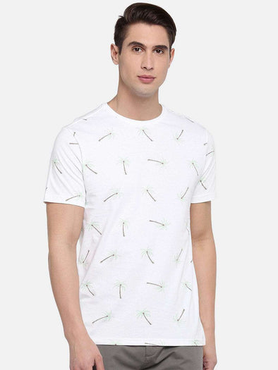 Cottonworld Men's Tshirts SMALL / WHITE Men's Cotton White Regular Fit Tshirt