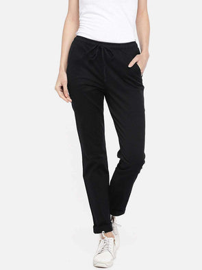 Cottonworld PANTS 70 CM-SMALL / BLACK WOMEN'S 98% COTTON 2% LYCRA BLACK REGULAR FIT PANTS
