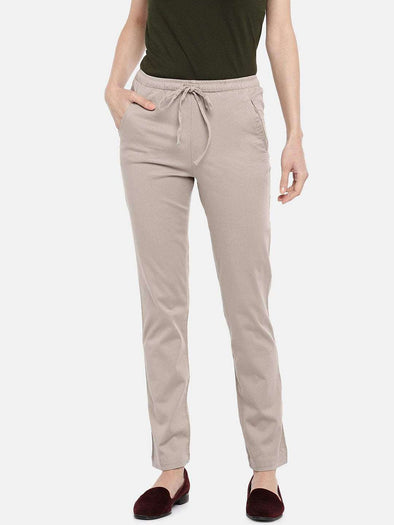 Cottonworld PANTS 70 CM-SMALL / KHAKI WOMEN'S 98% COTTON 2% LYCRA KHAKI REGULAR FIT PANTS