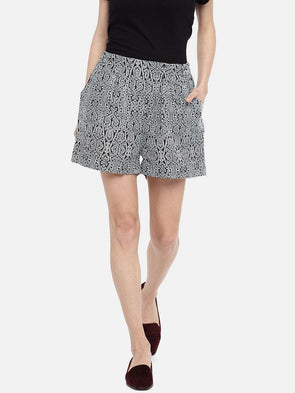 Women's Linen Black Regular Fit Shorts Cottonworld Women's Shorts