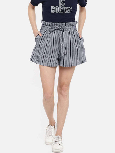 Women's Cotton Navy Regular Fit Shorts Cottonworld Women's Shorts