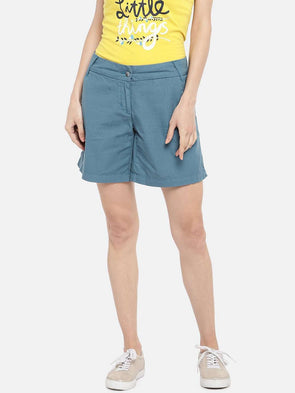 Cottonworld SHORTS 70 CM-SMALL / BLUE WOMEN'S 100% COTTON BLUE REGULAR FIT SHORTS