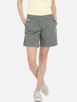 Cottonworld SHORTS 70 CM-SMALL / OLIVE WOMEN'S 100% COTTON OLIVE REGULAR FIT SHORTS