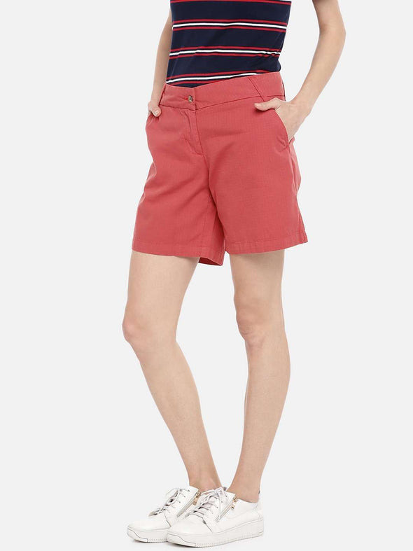 Cottonworld SHORTS 70 CM-SMALL / RED WOMEN'S 100% COTTON RED REGULAR FIT SHORTS