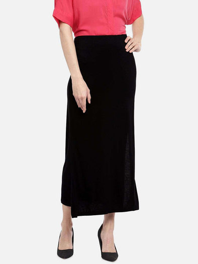 Women's Viscose Elastane Black Skirt Cottonworld Women's Skirts
