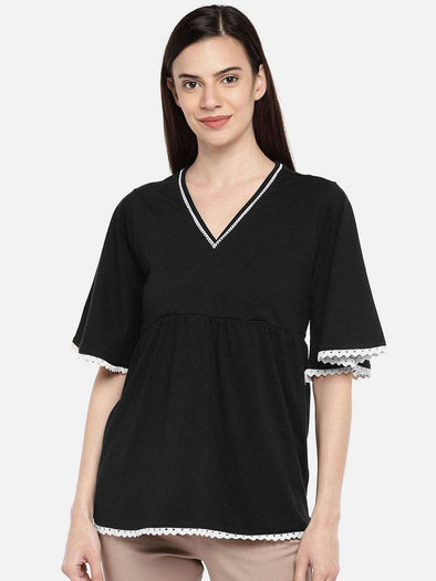 Cottonworld TSHIRT 77 CM-XSMALL / BLACK WOMEN'S 100% COTTON BLACK A LINE TSHIRT