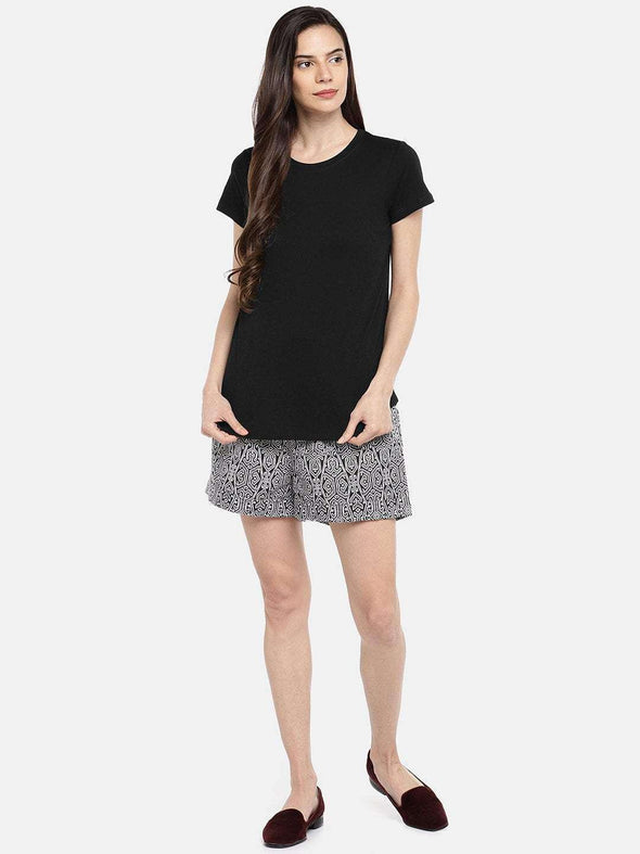 Cottonworld TSHIRT 77 CM-XSMALL / BLACK WOMEN'S 100% COTTON BLACK REGULAR FIT TSHIRT
