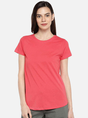 Cottonworld TSHIRT 77 CM-XSMALL / CORAL WOMEN'S 100% COTTON CORAL REGULAR FIT TSHIRT