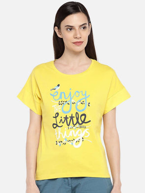 Cottonworld TSHIRT 77 CM-XSMALL / MUSTARD WOMEN'S 100% COTTON MUSTARD REGULAR FIT TSHIRT