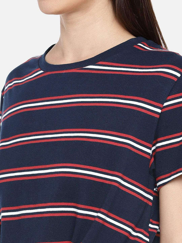 Cottonworld TSHIRT 77 CM-XSMALL / NAVY WOMEN'S 100% COTTON NAVY REGULAR FIT TSHIRT