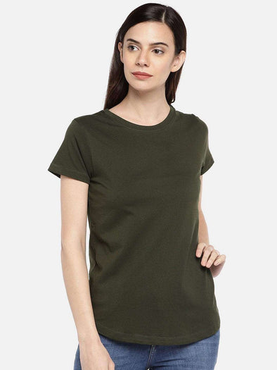 Cottonworld TSHIRT 77 CM-XSMALL / OLIVE WOMEN'S 100% COTTON OLIVE REGULAR FIT TSHIRT