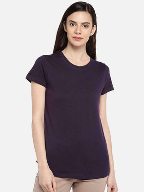 Cottonworld TSHIRT 77 CM-XSMALL / PURPLE WOMEN'S 100% COTTON PURPLE REGULAR FIT TSHIRT