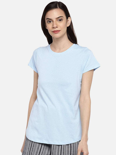 Cottonworld TSHIRT 77 CM-XSMALL / SKY WOMEN'S 100% COTTON SKY REGULAR FIT TSHIRT
