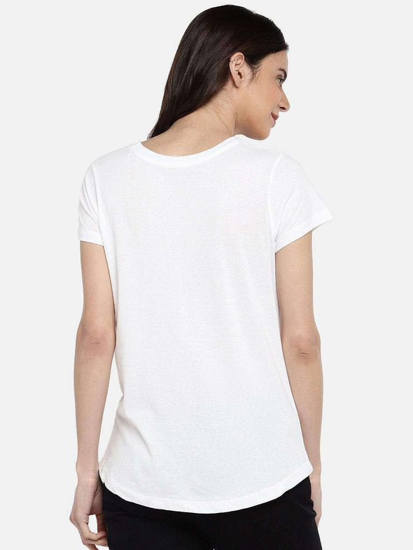 Cottonworld TSHIRT 77 CM-XSMALL / WHITE WOMEN'S 100% COTTON WHITE REGULAR FIT TSHIRT