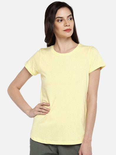 Cottonworld TSHIRT 77 CM-XSMALL / YELLOW WOMEN'S 100% COTTON YELLOW REGULAR FIT TSHIRT