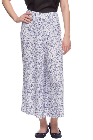 Cottonworld Women's Culotte 96% Viscose 4% Elastane Knit Blue Regular Fit Kpants