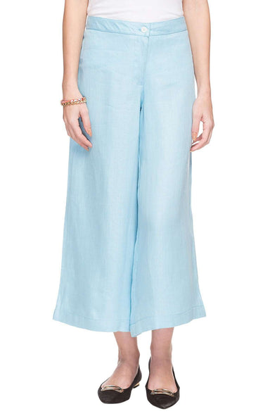 Cottonworld Women's Culotte WOMEN'S 100% LINEN BLUE REGULAR FIT CULOTTE