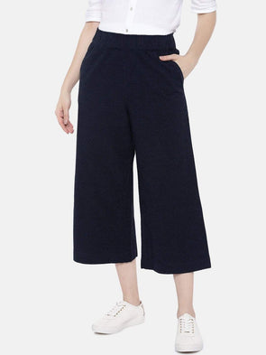Women's Cotton Linen Navy Regular Fit Culotte Cottonworld Women's Culottes