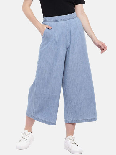 Cottonworld Women's Culottes Women's Cotton Tencel Denim Blue Regular Fit Culotte