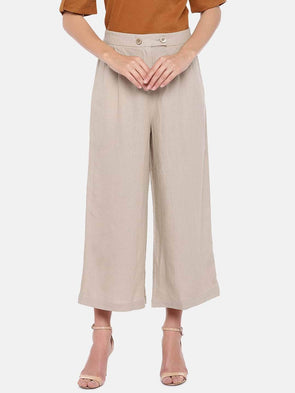 Women's Linen Beige Regular Fit Culotte Cottonworld Women's Culottes