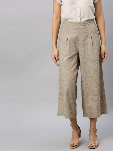 Women's Linen Cotton Khaki Regular Fit Culotte Cottonworld Women's Culottes