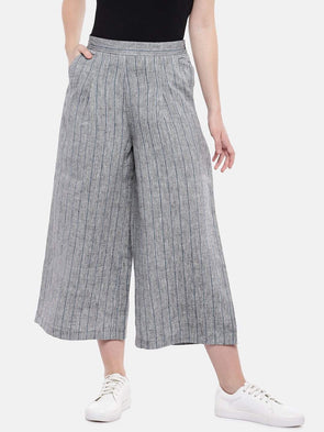 Cottonworld Women's Culottes Women's Linen Grey Regular Fit Culotte