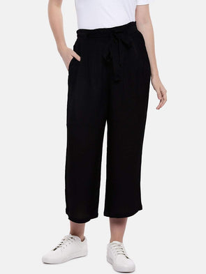 Cottonworld Women's Culottes Women's Viscose Black Regular Fit Culotte