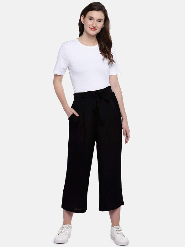 Women's Viscose Black Regular Fit Culotte Cottonworld Women's Culottes